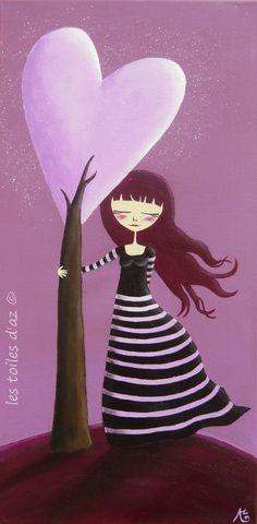my heart tree by lestoilesdaz Art Violet, Purple Art, Art Et Illustration, Illustrations, Art Fantaisiste, Orchid Color, Heart Tree, I Love Heart, Doodle Drawings