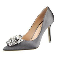 Pumps Stone High Heels Satin Shoes Pumps With Rhinestone. Grey PumpsWomen s  ... c9b2252ff683
