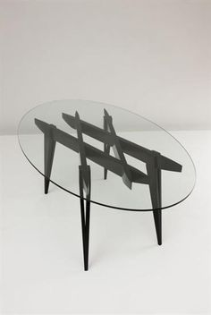 GIO PONTI Unique prototype dining table, c. 1970 Lacquered wood, glass. 77.8 x 200 x 117.5 cm. (30 5/8 x 78 3/4 x 46 1/4 in.) Produced by Walter Ponti, Italy.