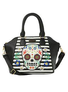 Loungefly Embroidered Sugar Skull Handbag Flowers Black Handbags Hot Topic