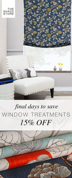 Shop now through January 4th for 15% off all custom window treatments at The Shade Store. Hurry - sale ends soon!