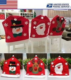 Holy Christmas Home Decor Chair Cover Snowman Santa Reindeer Pattern Chair Cover All Things Christmas, Christmas Home, Christmas Wreaths, Christmas Ornaments, Christmas Bags, Christmas Deer, Christmas Snowflakes, Felt Christmas, Christmas Chair Covers
