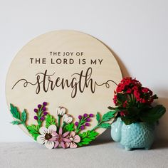 Encouraging wooden bible verse wall art, the joy of the lord is my strength wooden wall art with hand painted wooden flowers Christian Friends, Christian Gifts For Women, Scripture Signs, Bible Verse Wall Art, Christian Signs, Christian Wall Art, Nursery Banner, Joy Of The Lord, Wooden Flowers