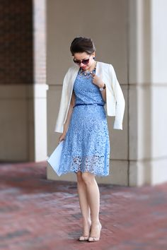 jasmine blue | chicwish lace dress, ann taylor blazer, asos clutch, sole society pumps, ladylike chic, urban fashion, http://redreticule.com