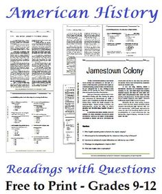 List of American History Readings Worksheets for High School Students - Free to…