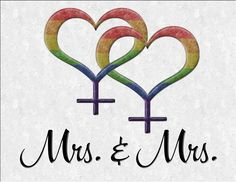 Mrs and Mrs Lesbian pride Wedding design with overlapping rainbow colored Female gender symbols. Great for LGBT Marriage gifts.  #Lesbian#mrmr  #liveloudgraphics