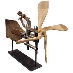 Early Folk Art Whirligig- Articulated Worker Sawing Wood | From a unique collection of antique and modern weathervanes at https://www.1stdibs.com/furniture/folk-art/weathervanes/