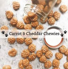 Carrot and Cheddar Chewies (Homemade Dog Treats) | epicuricloud (Tina Verrelli) Dog Cookie Recipes, Homemade Dog Cookies, Dog Biscuit Recipes, Homemade Dog Food, Dog Treat Recipes, Healthy Dog Treats, Dog Food Recipes, Carrot Dogs, Puppy Treats
