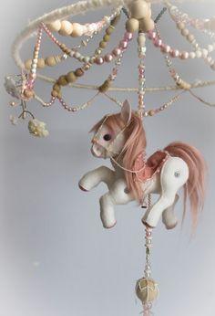 """Baby Girl Mobile """"Parisian Carousel""""- custom wool felt pony horse mobile; baby"""