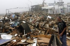 In front of Murdoch's in Galveston after hurricane Ike