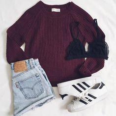 maroon sweater + rolled denim