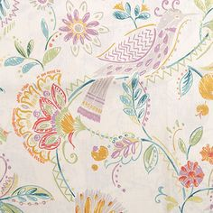 Migration Fabric is a floral and bird design from the Song Birds Collection by P/Kaufmann. This fabric features playful birds and flowers with a hand drawn style screen printed on a 100% linen fabric with a soil and stain repellent finish.