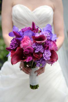 Bright pink and purple bouquet: http://www.stylemepretty.com/new-york-weddings/new-york-city/brooklyn/2015/02/06/elegant-urban-wedding-at-501-union/   Photography: Jessica Schmitt - http://www.jessicaschmitt.com/