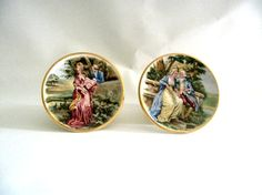 Pair of Vintage Decorative Plates Romantic Courting by mish73, £7.00