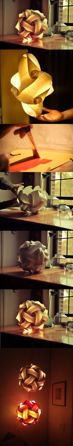 Ma come si fa? Lantern Lamp, Lanterns, Element Lighting, Paper Lamps, Diy And Crafts, Paper Crafts, Origami And Kirigami, Light Table, Lamp Design