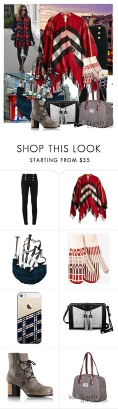 """""""Explore Scotland"""" by joyfulnoise1052 ❤ liked on Polyvore featuring Balmain, Burberry, Toast, Casetify, Carianne Moore and SOREL"""
