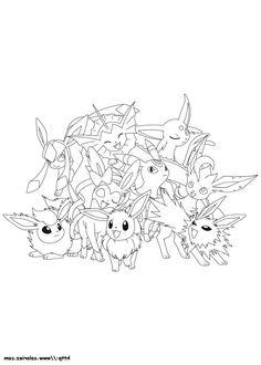 Coloriage A Imprimer Pokemon Famille Evoli.Les 7 Meilleures Images De Sacha Et Pikachu Pikachu Sacha