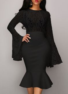 Lace Panel Long Sleeve Top and Black Skirt   Rosewe.com - USD $36.43