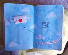 """wreckitalanna: """"Hide a secret message somewhere in this book."""" This sky is perfect.. light, fluffy clouds to hold your dreams :) I think it's just so cute, aha. Happy Wrecking!"""