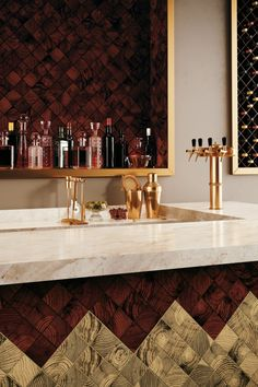 Explore a convergence of design and style in Convergence glass mosaic wall tile collection. The look of end-grain woods is awash in 8 vibrant colors and cast in polished glass for lustrous effect Hexagon Wall Tiles, Glazed Brick, Kitchen Island Bar, Wood Look Tile, Tile Patterns, Floral Patterns, Style Tile, Elements Of Design, Hospitality Design