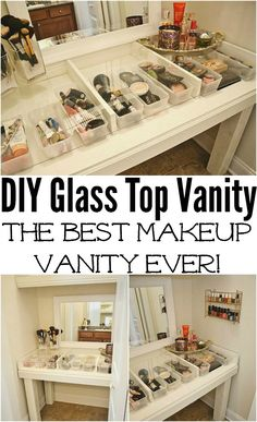 Glass Top Vanity DIY from Liz Marie Blog. I'd like this for a crafting room double sized too. Would make a nice cutting/sewing table with all the tools and sew toys in the baskets.