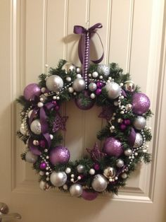 Purple, silver and white Christmas wreath