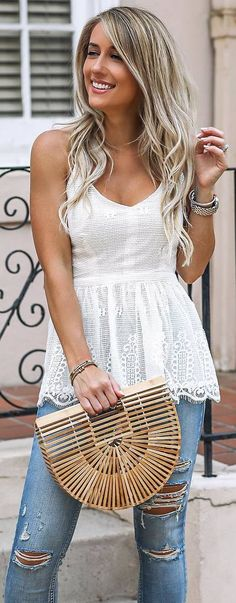 #spring #outfits white top, ripped jeans