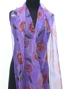 Hand painted silk scarf Chiffon Purple black red roses by Irisit
