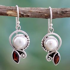 Cultured pearl and garnet dangle earrings, 'Sublime Romance'. Shop from #UNICEFMarket and help save the lives of children around the world.