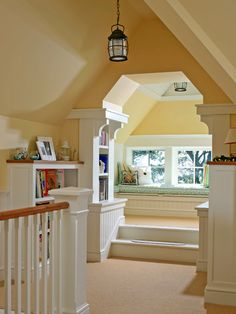 Childrens nook in finished attic with bookshelves and step up window seat Design Loft, Attic Design, Library Design, Attic Rooms, Attic Spaces, Attic Bathroom, Attic Playroom, Attic Office, Attic Apartment