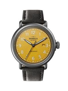 Shop for a Shinola Runwell automatic watch with a yellow dial at Brent L Miller Jewelers in Lancaster, PA. Your destination for Shinola watches in Central Pennsylvania. Shinola Runwell, Shinola Detroit, Automatic Watches For Men, Stainless Steel Case, Gold Watch, Black Leather, Window, Eye, Printed