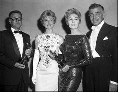 Kim Novak at the 1958 Academy Awards with Doris Day and Clark Gable.