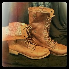 Brown Combat Boots Never before worn!!! Cute knitted pattern on the inside too. Go great with leggings! Size 8 Shoes Combat & Moto Boots