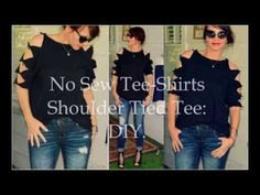 DIY No Sew Shoulder Tied Tee ShirtThis tee refashion could not. (True Blue Me and You: DIYs for Creatives) Diy Cut Shirts, Old T Shirts, T Shirt Diy, Tee Shirts, Cut Up Tees, T Shirt Remake, Shirt Alterations, Cycling T Shirts, Diy Tops