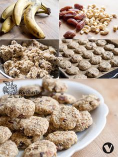 BANÁNOVÉ SUŠENKY Raw Food Recipes, Healthy Recipes, Crinkles, Cereal, Low Carb, Gluten, Sweets, Vegan, Cookies