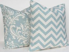 Blue Decorative Pillow Cover on natural cotton by DeliciousPillows, $18.00