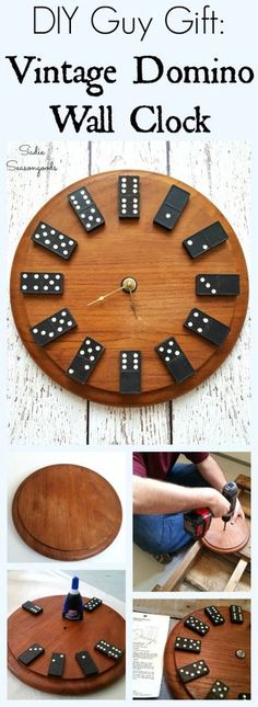 Want an easy DIY gift for a man? Create a fun wall clock with repurposed vintage wooden dominoes and a thrift store cutting board- perfect for his game room, office, or man cave! A DIY Domino Clock is easier than you think, and he'll be sure to love it. #SadieSeasongoods / www.sadieseasongoods.com