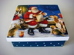 Image result for decoupage em caixote de feira no pinterest Country Christmas, Christmas Crafts, Xmas, Ceramic Boxes, Wooden Boxes, Tole Painting, Painting On Wood, Christmas Decoupage, Decoupage Box