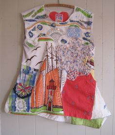 My Bonny NAUTICAL BOATS LIGHTHOUSE - Wearable Folk Art Collage Clothing - Upcycled Altered Beach Girl Anchor random scraps of fabric