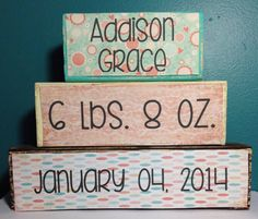 Personalized Baby Name Stacker Wood Block Set by VintageLaceDesign