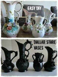 Halloween vases from dollar store items. This works for thrift store and garage/yard/estate sale items. Look for ornate things - goblets, vases, even chandeliers - and paint black (or orange, purple, or whichever color matches your Halloween theme. Halloween Vase, Theme Halloween, Holidays Halloween, Halloween Crafts, Holiday Crafts, Holiday Fun, Happy Halloween, Gothic Halloween Decorations, Samhain Decorations