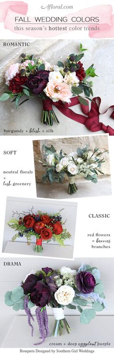 Gorgeous Fall Wedding Color Palettes. Shop by color for your fall wedding flowers at Afloral.com.   Bouquets designed by Southern Girl Weddings with silk flowers from Afloral.com.