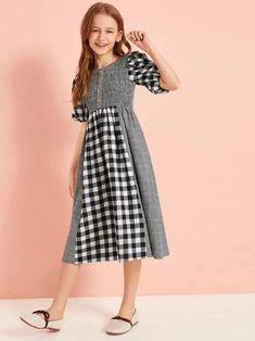 Girls Fashion Clothes, Little Girl Fashion, Fashion Dresses, Cord Pinafore Dress, Black Flare Dress, Cute Dresses, Girls Dresses, Girls Frock Design, Short Frocks