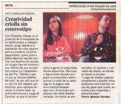 """Diario """"El Universal"""" 2008 - """"Creatividad criolla sin Estereotipo"""" #hotchocolatedesign"""