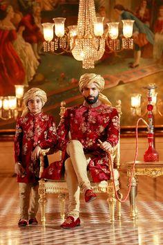 Samyakk red And Golden Silk Embroidered Achkan Sherwani. Indian Wedding, Indian Groom Outfits, via Wedding Dresses Men Indian, Wedding Outfits For Groom, Wedding Dress Men, Wedding Wear, Wedding Suits, Wedding Attire, Bridal Outfits, Indian Weddings, Purple Wedding