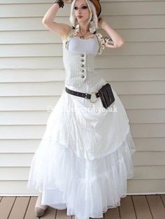 Striped and Ruffled Underbust Steampunk Vest with White Dress for Women ( Get your goth on with gothic punk clothing - a favorite repin of www.vipfashionaus... )