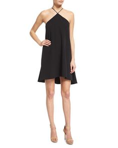 Halter-Neck Cascade-Back Dress, Black by Milly at Neiman Marcus.
