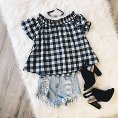 Outfit of the day post. Off the shoulder check top, distressed shorts, black peep toe booties, and choker.