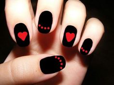 Red and Black Nail Design with Hearts and Dots.