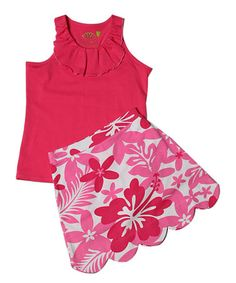Another great find on #zulily! Fuchsia Racerback Top & Scallop Skort - Toddler & Girls #zulilyfinds